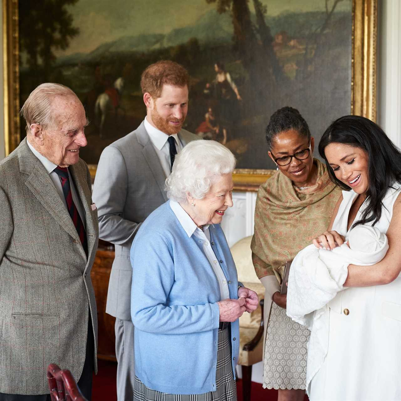 The Queen with the Sussexes' first born, Archie